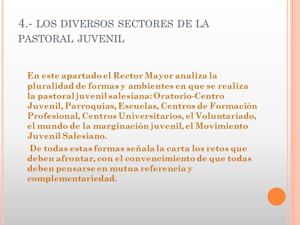 4.- LOS DIVERSOS SECTORES DE LA PASTORAL JUVENIL En este apartado el Rector Mayor analiza la pluralidad de formas y ambientes en que se realiza la pas