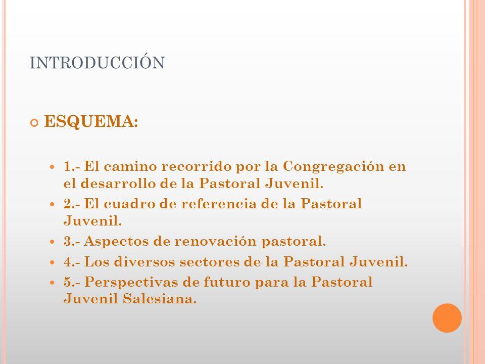 INTRODUCCIÓN ESQUEMA: 1.- El camino recorrido por la Congregación en el desarrollo de la Pastoral Juvenil. 2.- El cuadro de referencia de la Pastoral