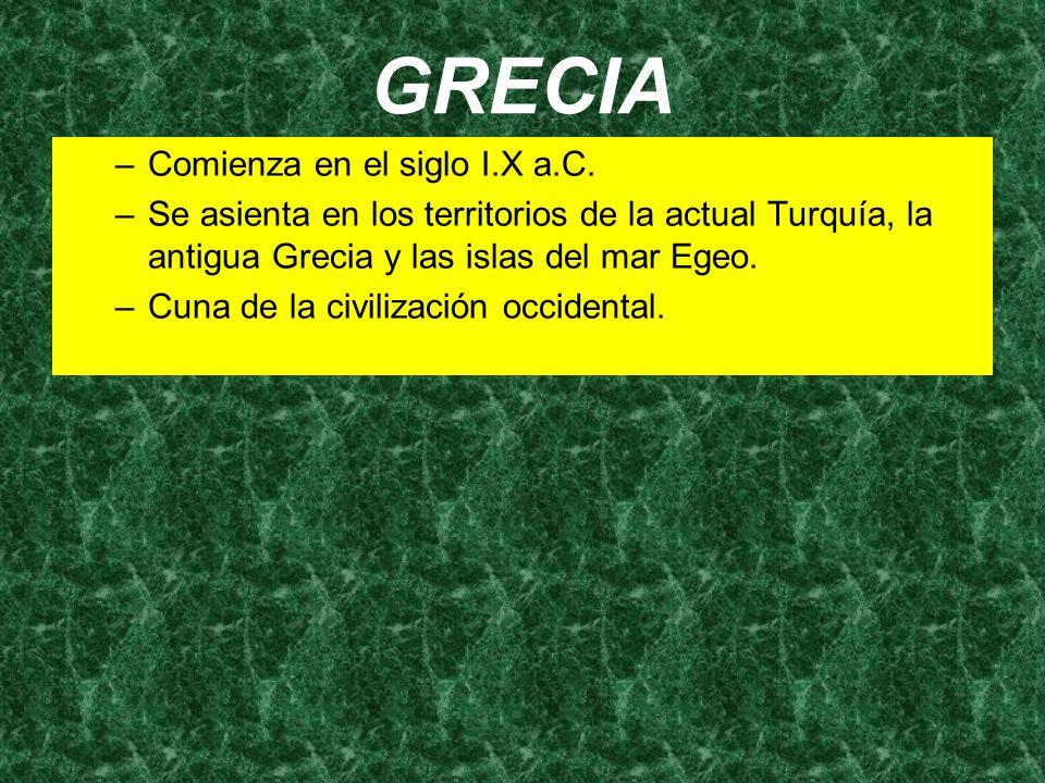 GRECIA –Comienza en el siglo I.X a.C. –Se asienta en los territorios de la actual Turquía, la antigua Grecia y las islas del mar Egeo. –Cuna de la civ