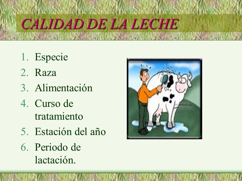 CALIDAD DE LA LECHE 1.Especie 2.Raza 3.Alimentación 4.Curso de tratamiento 5.Estación del año 6.Periodo de lactación.