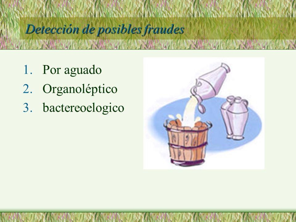 Detección de posibles fraudes 1.Por aguado 2.Organoléptico 3.bactereoelogico