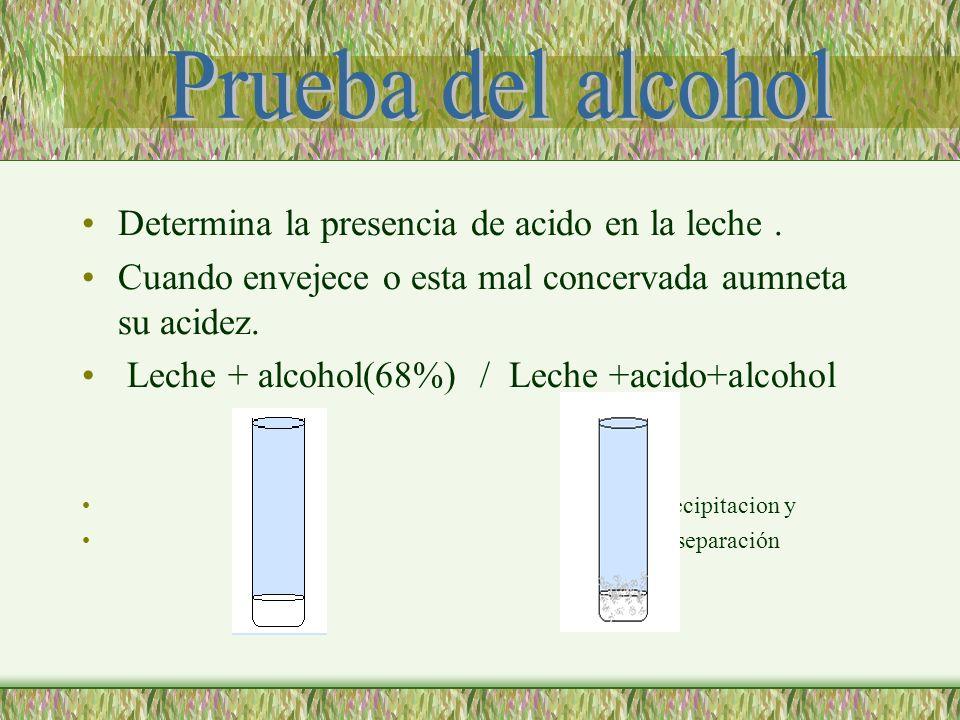 Determina la presencia de acido en la leche. Cuando envejece o esta mal concervada aumneta su acidez. Leche + alcohol(68%) / Leche +acido+alcohol prec