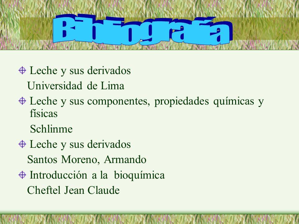 Leche y sus derivados Universidad de Lima Leche y sus componentes, propiedades químicas y físicas Schlinme Leche y sus derivados Santos Moreno, Armand