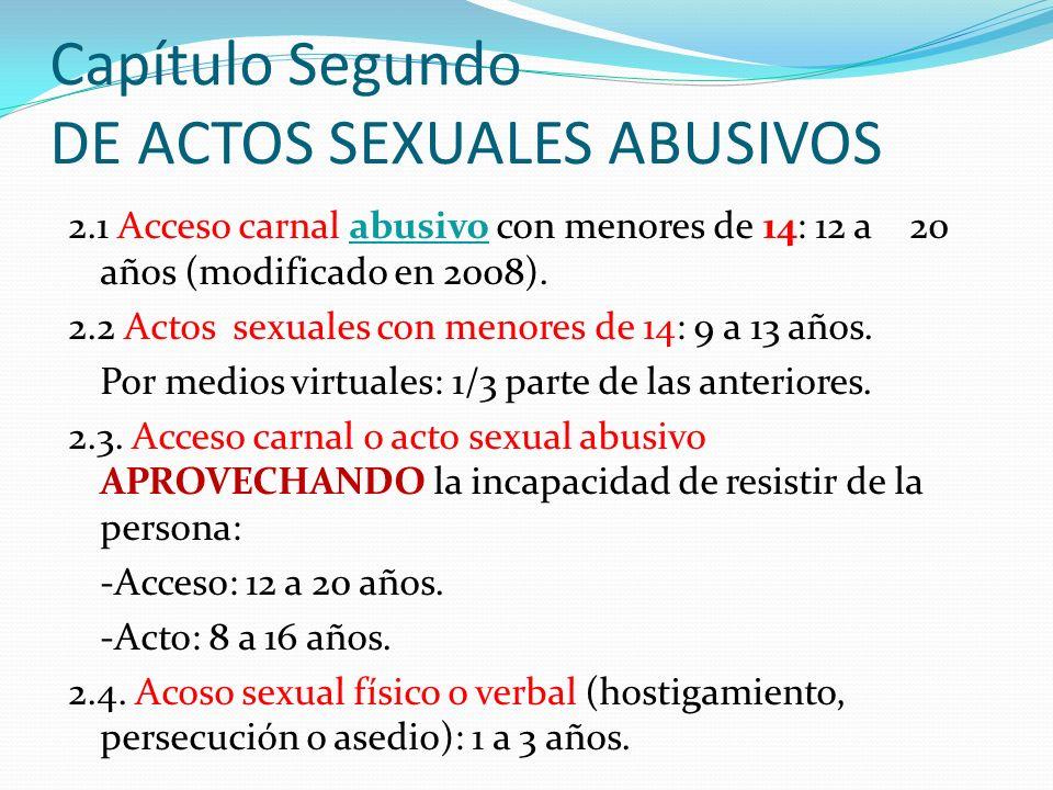 Capítulo Segundo DE ACTOS SEXUALES ABUSIVOS 2.1 Acceso carnal abusivo con menores de 14: 12 a 20 años (modificado en 2008). 2.2 Actos sexuales con men