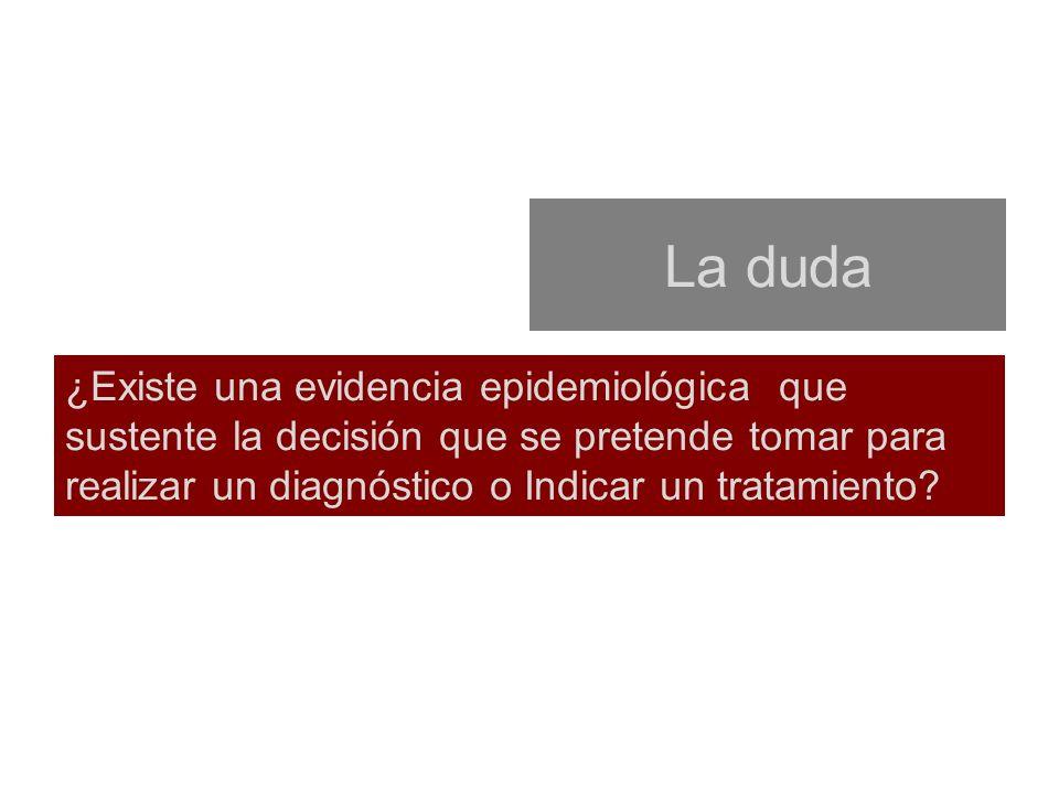 La duda ¿Existe una evidencia epidemiológica que sustente la decisión que se pretende tomar para realizar un diagnóstico o Indicar un tratamiento