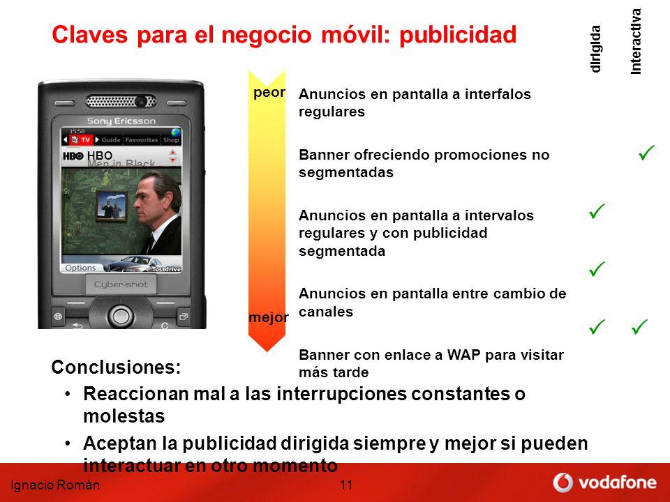 Ignacio Román11 Claves para el negocio móvil: publicidad TV Tutorial Vodafone 1 Men in Black HBO Anuncios en pantalla a interfalos regulares Banner of