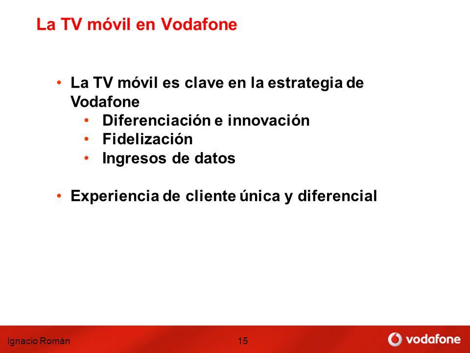 Ignacio Román15 La TV móvil en Vodafone La TV móvil es clave en la estrategia de Vodafone Diferenciación e innovación Fidelización Ingresos de datos E