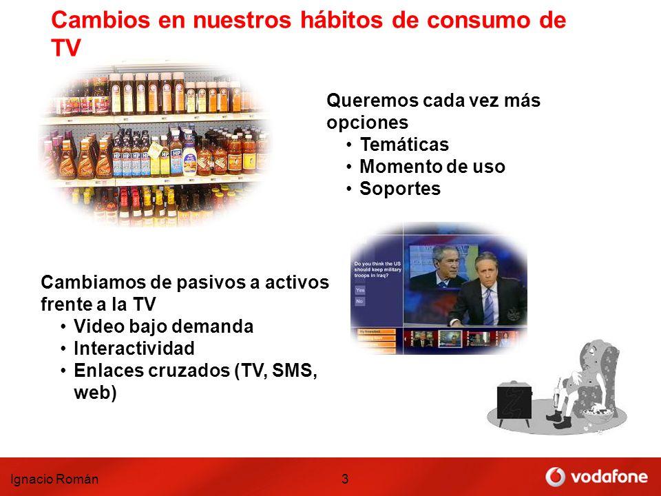 Ignacio Román3 Cambios en nuestros hábitos de consumo de TV Queremos cada vez más opciones Temáticas Momento de uso Soportes Cambiamos de pasivos a ac