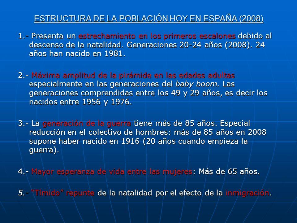 ESTRUCTURA DE LA POBLACIÓN HOY EN ESPAÑA (2008) 1.- Presenta un estrechamiento en los primeros escalones debido al descenso de la natalidad. Generacio