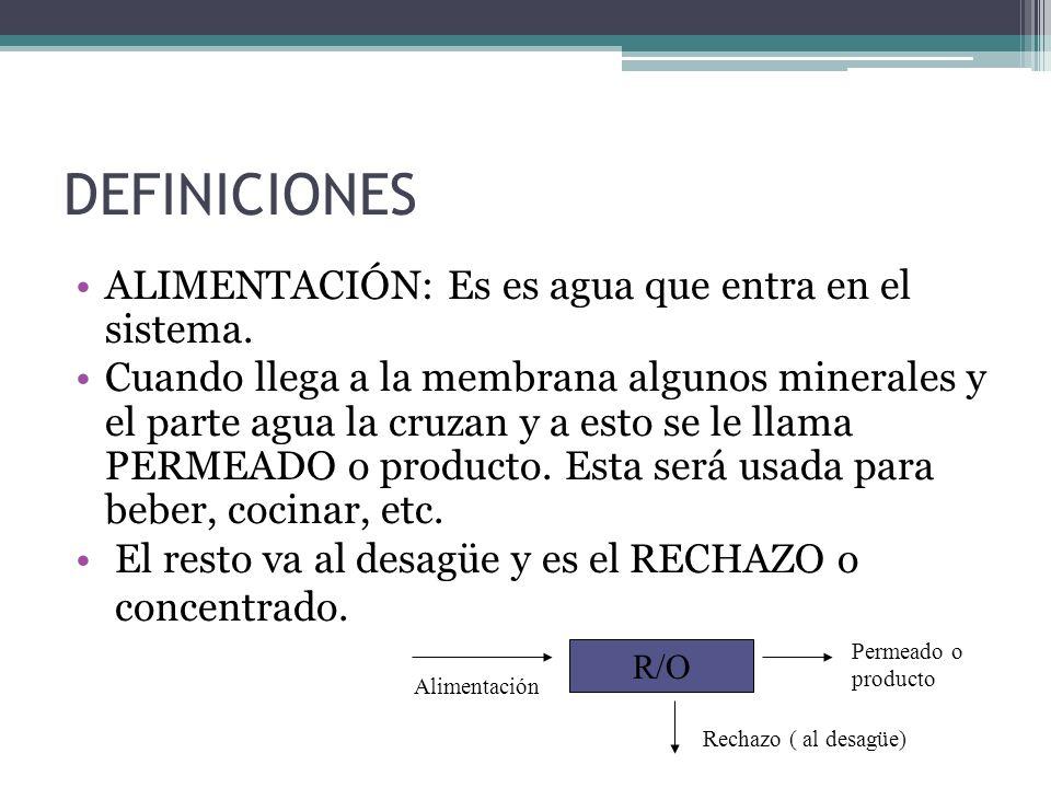 DEFINICIONES ALIMENTACIÓN: Es es agua que entra en el sistema. Cuando llega a la membrana algunos minerales y el parte agua la cruzan y a esto se le l