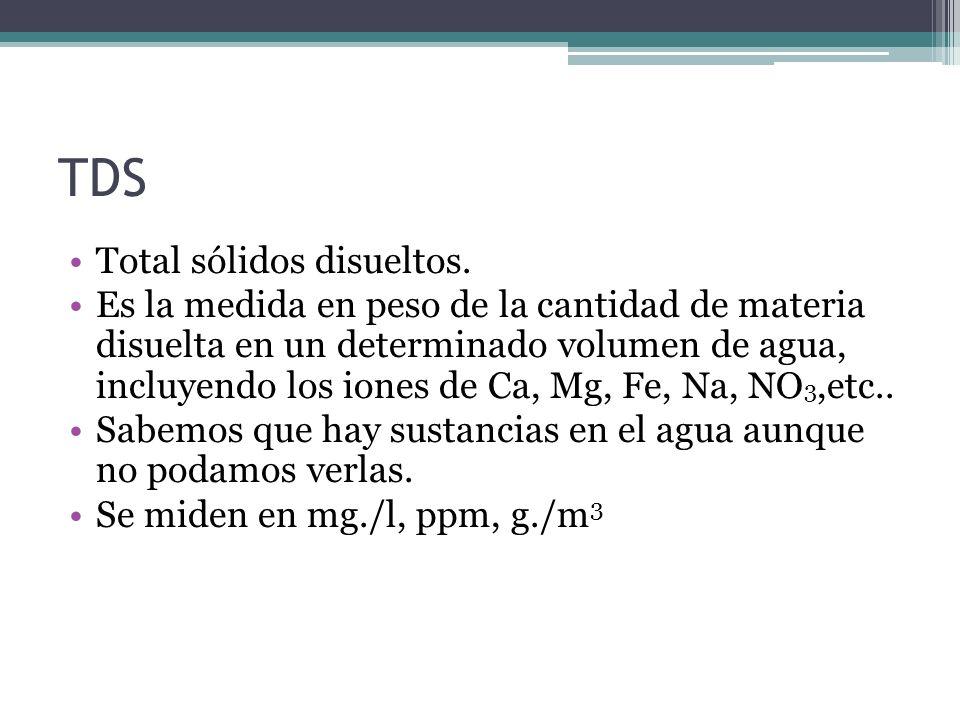 TDS Total sólidos disueltos. Es la medida en peso de la cantidad de materia disuelta en un determinado volumen de agua, incluyendo los iones de Ca, Mg