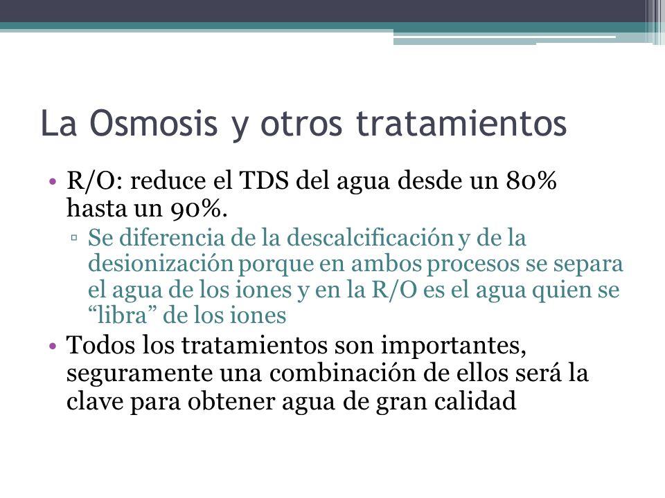 La Osmosis y otros tratamientos R/O: reduce el TDS del agua desde un 80% hasta un 90%. Se diferencia de la descalcificación y de la desionización porq