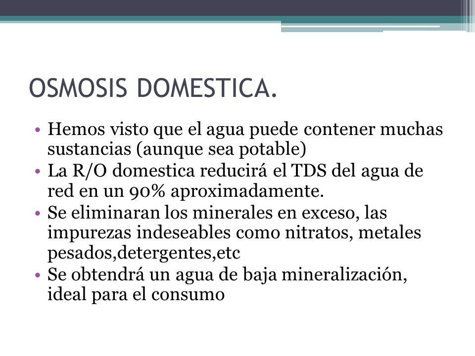 OSMOSIS DOMESTICA. Hemos visto que el agua puede contener muchas sustancias (aunque sea potable) La R/O domestica reducirá el TDS del agua de red en u