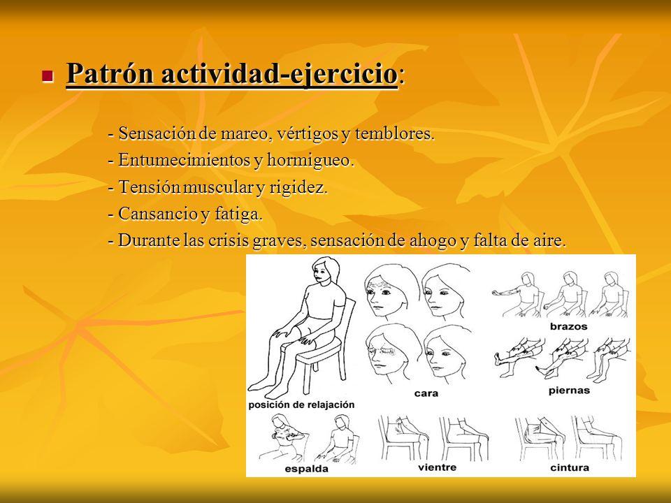 Patrón actividad-ejercicio: Patrón actividad-ejercicio: - Sensación de mareo, vértigos y temblores. - Entumecimientos y hormigueo. - Tensión muscular