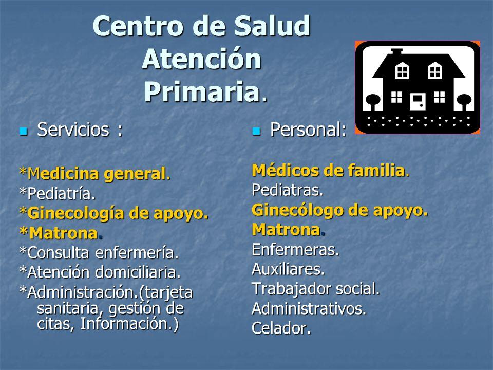 Centro de Salud Atención Primaria. Servicios : Servicios : *Medicina general. *Pediatría. *Ginecología de apoyo. *Matrona. *Consulta enfermería. *Aten