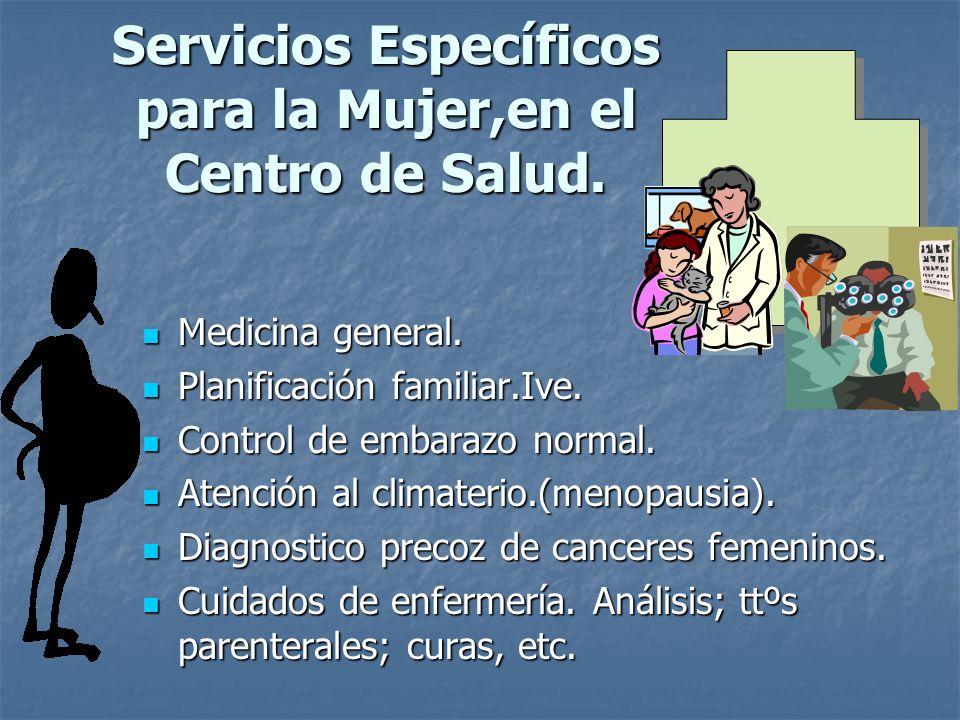 Servicios Específicos para la Mujer,en el Centro de Salud. Medicina general. Medicina general. Planificación familiar.Ive. Planificación familiar.Ive.