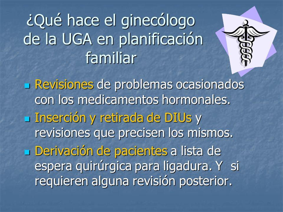¿Qué hace el ginecólogo de la UGA en planificación familiar Revisiones de problemas ocasionados con los medicamentos hormonales. Revisiones de problem