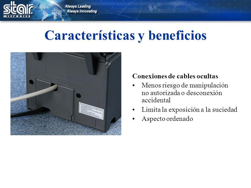 Características y beneficios Conexiones de cables ocultas Menos riesgo de manipulación no autorizada o desconexión accidental Limita la exposición a l