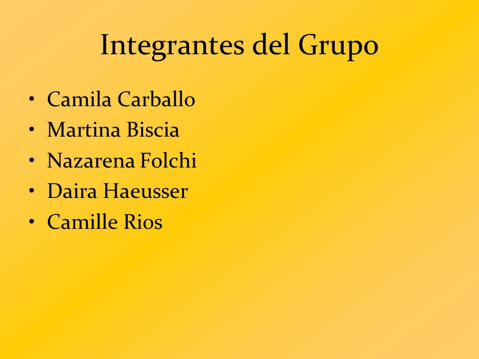 Integrantes del Grupo Camila Carballo Martina Biscia Nazarena Folchi Daira Haeusser Camille Rios