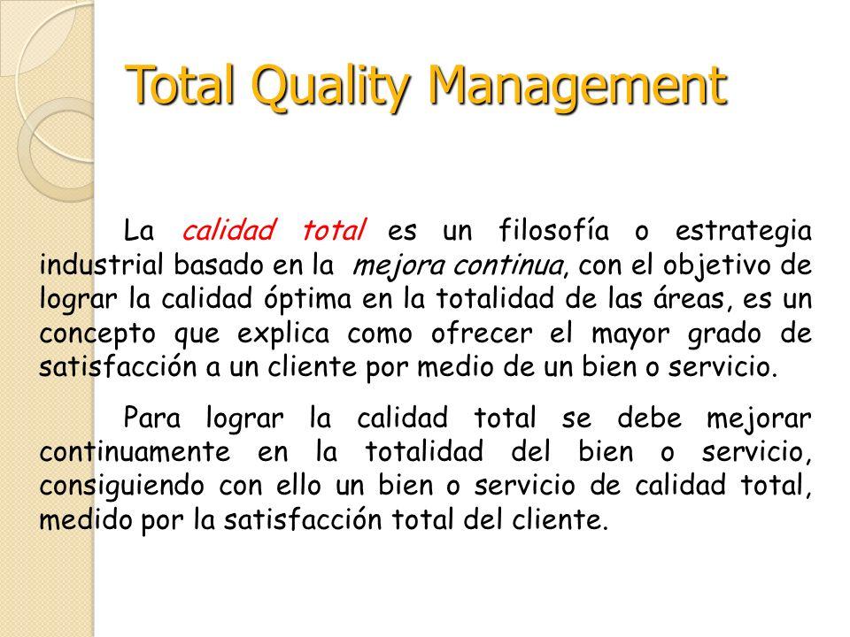 La calidad total es un filosofía o estrategia industrial basado en la mejora continua, con el objetivo de lograr la calidad óptima en la totalidad de
