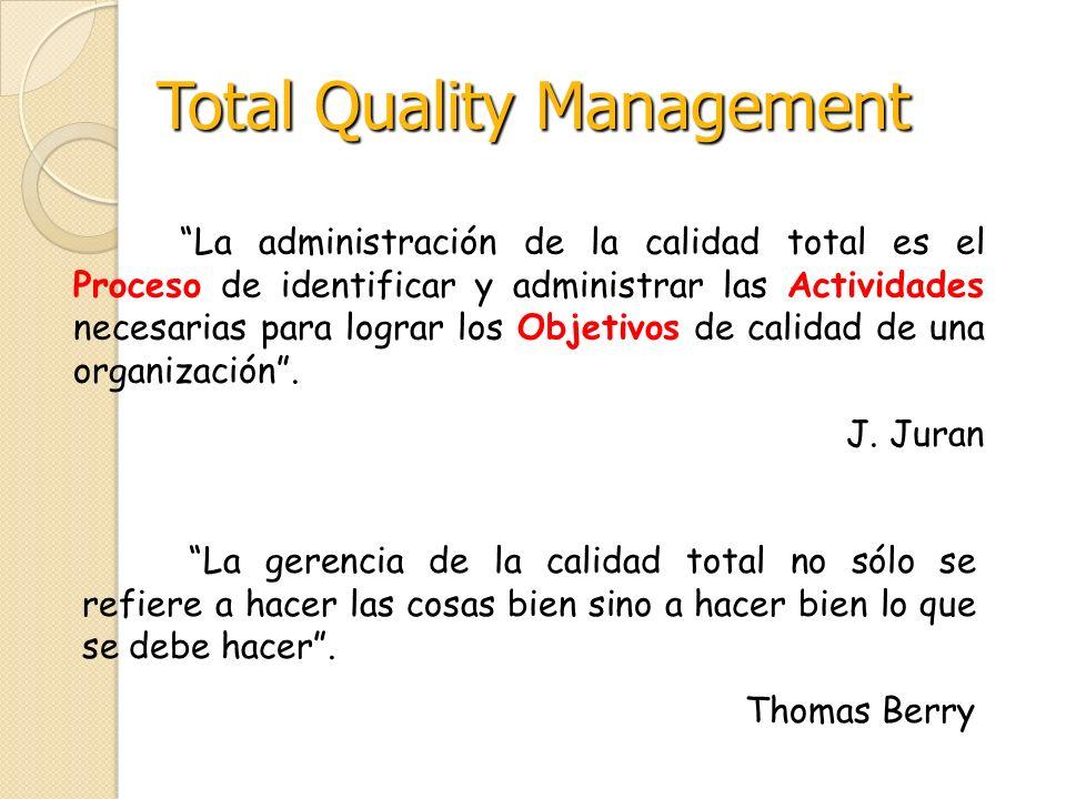 La administración de la calidad total es el Proceso de identificar y administrar las Actividades necesarias para lograr los Objetivos de calidad de un