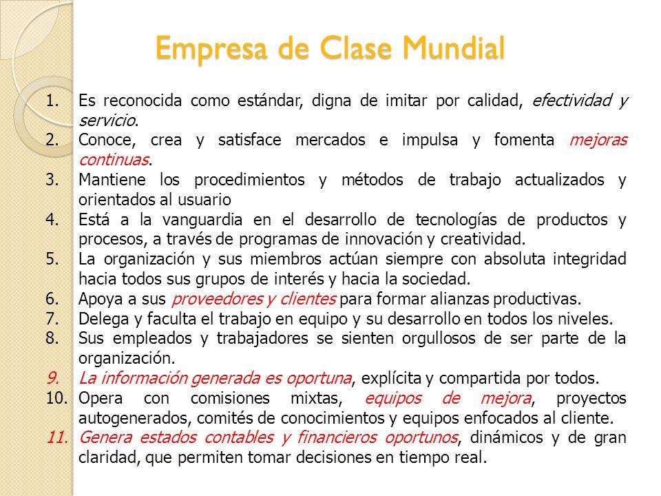 Empresa de Clase Mundial 1.Es reconocida como estándar, digna de imitar por calidad, efectividad y servicio. 2.Conoce, crea y satisface mercados e imp