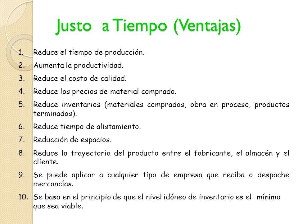 En un sistema JIT el producto debe estar listo para cuando lo requiera el cliente, y sobre todo debe funcionar...