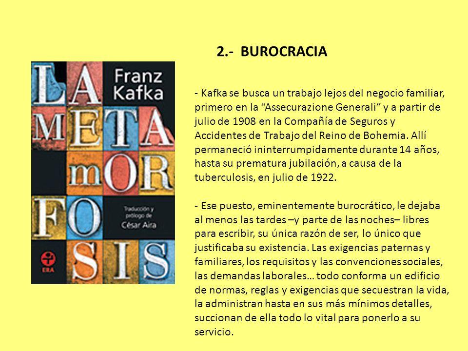 2.- BUROCRACIA - Kafka se busca un trabajo lejos del negocio familiar, primero en la Assecurazione Generali y a partir de julio de 1908 en la Compañía