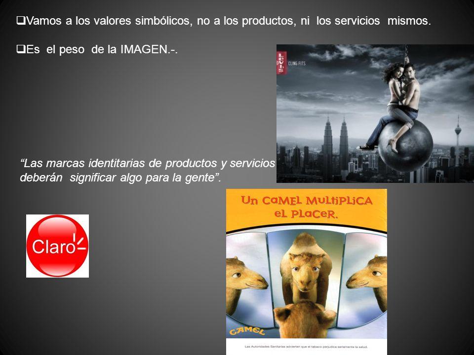 Vamos a los valores simbólicos, no a los productos, ni los servicios mismos. Es el peso de la IMAGEN.-. Las marcas identitarias de productos y servici