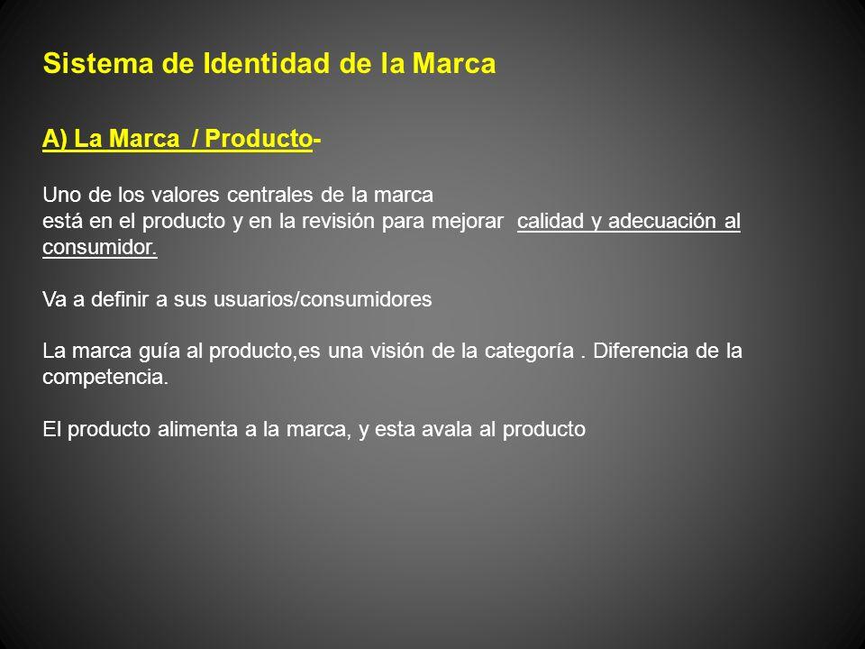 Sistema de Identidad de la Marca A) La Marca / Producto- Uno de los valores centrales de la marca está en el producto y en la revisión para mejorar ca