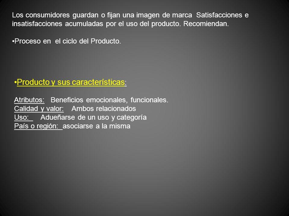 Los consumidores guardan o fijan una imagen de marca Satisfacciones e insatisfacciones acumuladas por el uso del producto. Recomiendan. Proceso en el