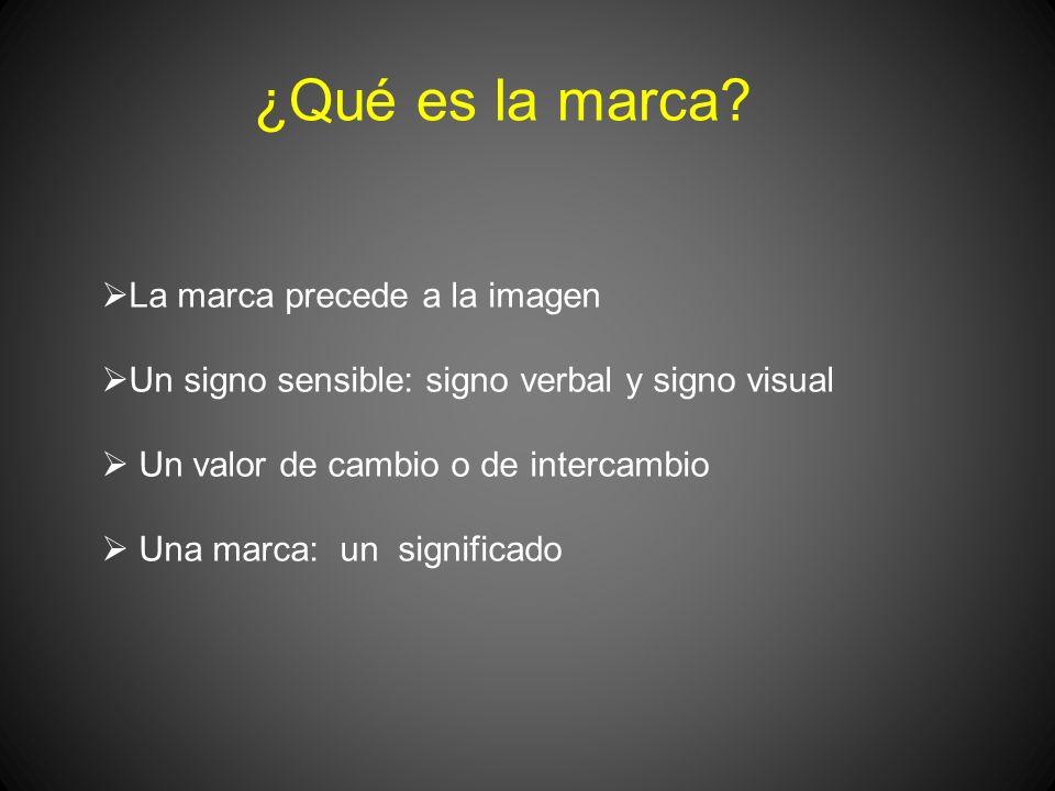 ¿Qué es la marca? La marca precede a la imagen Un signo sensible: signo verbal y signo visual Un valor de cambio o de intercambio Una marca: un signif