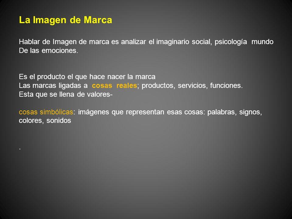 La Imagen de Marca Hablar de Imagen de marca es analizar el imaginario social, psicología mundo De las emociones. Es el producto el que hace nacer la