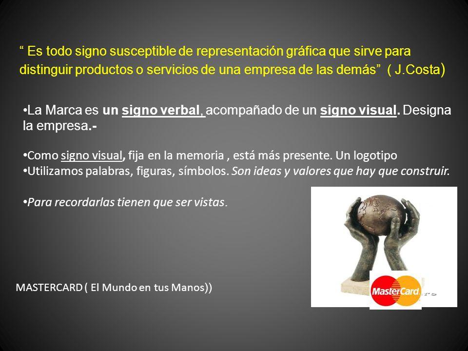 Es todo signo susceptible de representación gráfica que sirve para distinguir productos o servicios de una empresa de las demás ( J.Costa ) La Marca e