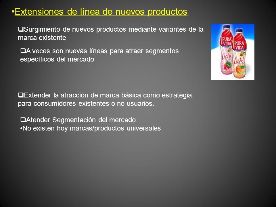 Extensiones de línea de nuevos productos Surgimiento de nuevos productos mediante variantes de la marca existente A veces son nuevas líneas para atrae