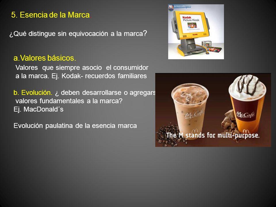 5. Esencia de la Marca. ¿Qué distingue sin equivocación a la marca ? a.Valores básicos. Valores que siempre asocio el consumidor a la marca. Ej. Kodak