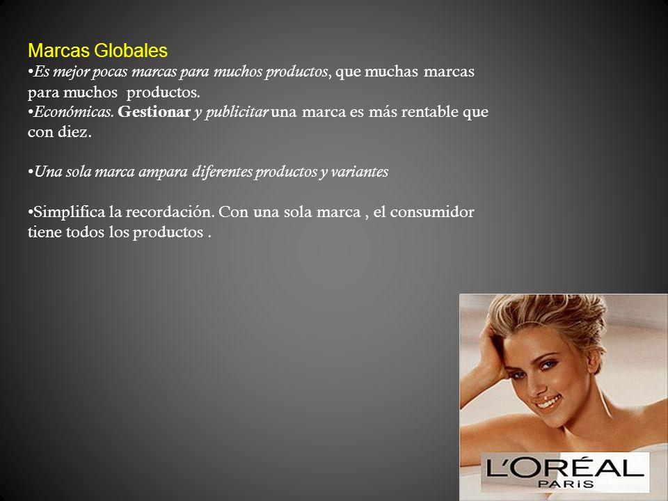 Marcas Globales Es mejor pocas marcas para muchos productos, que muchas marcas para muchos productos. Económicas. Gestionar y publicitar una marca es