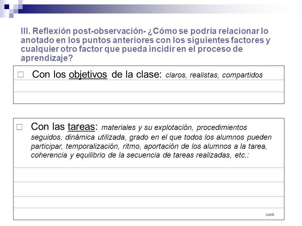 III. Reflexión post-observación- ¿Cómo se podría relacionar lo anotado en los puntos anteriores con los siguientes factores y cualquier otro factor qu