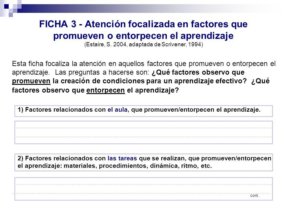 FICHA 3 - Atención focalizada en factores que promueven o entorpecen el aprendizaje (Estaire, S. 2004, adaptada de Scrivener, 1994) Esta ficha focaliz
