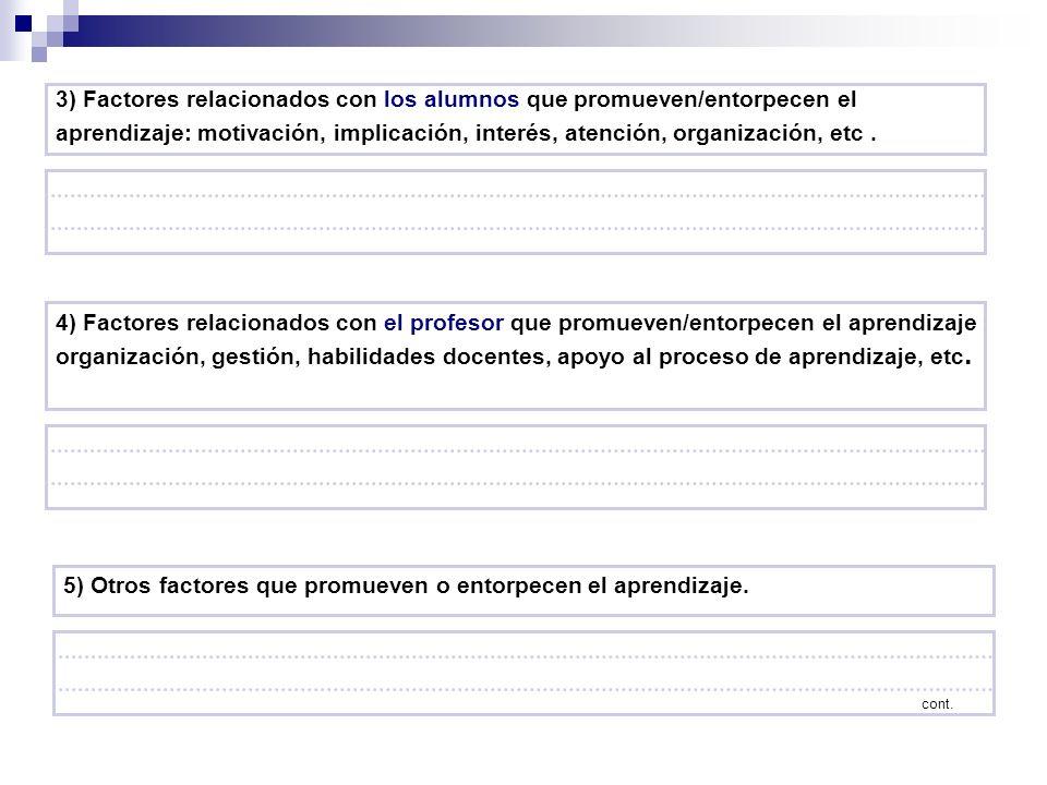 3) Factores relacionados con los alumnos que promueven/entorpecen el aprendizaje: motivación, implicación, interés, atención, organización, etc. 4) Fa