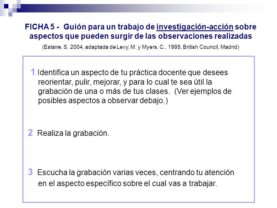 FICHA 5 - Guión para un trabajo de investigación-acción sobre aspectos que pueden surgir de las observaciones realizadas (Estaire, S. 2004, adaptada d