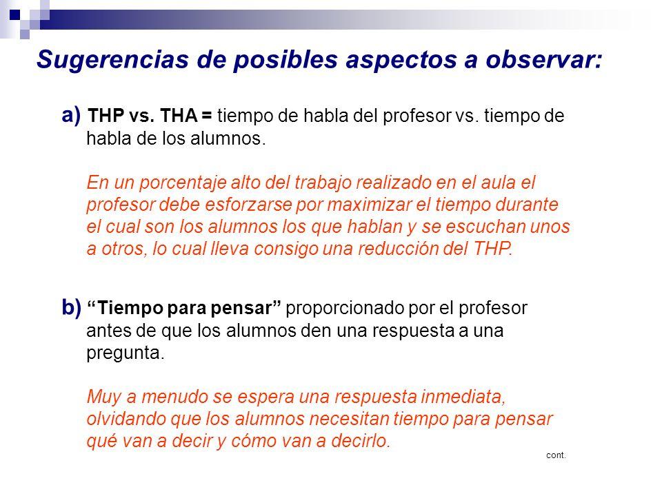Sugerencias de posibles aspectos a observar: a) THP vs. THA = tiempo de habla del profesor vs. tiempo de habla de los alumnos. En un porcentaje alto d
