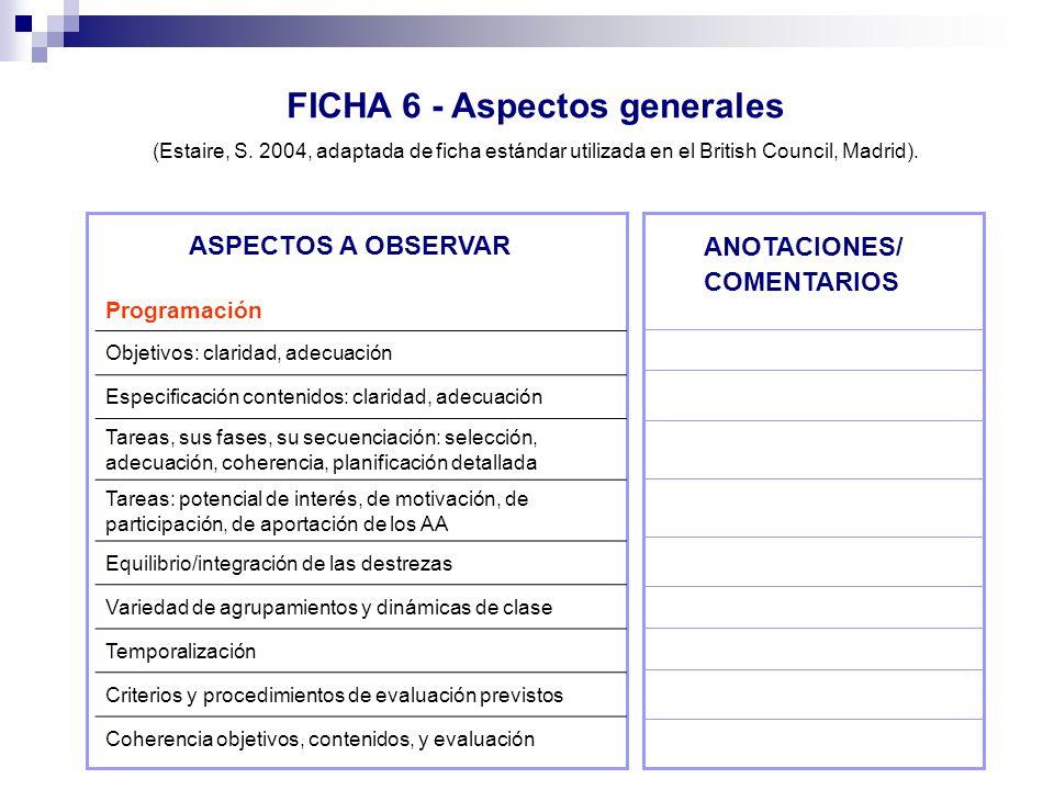 FICHA 6 - Aspectos generales (Estaire, S. 2004, adaptada de ficha estándar utilizada en el British Council, Madrid). ASPECTOS A OBSERVAR ANOTACIONES/