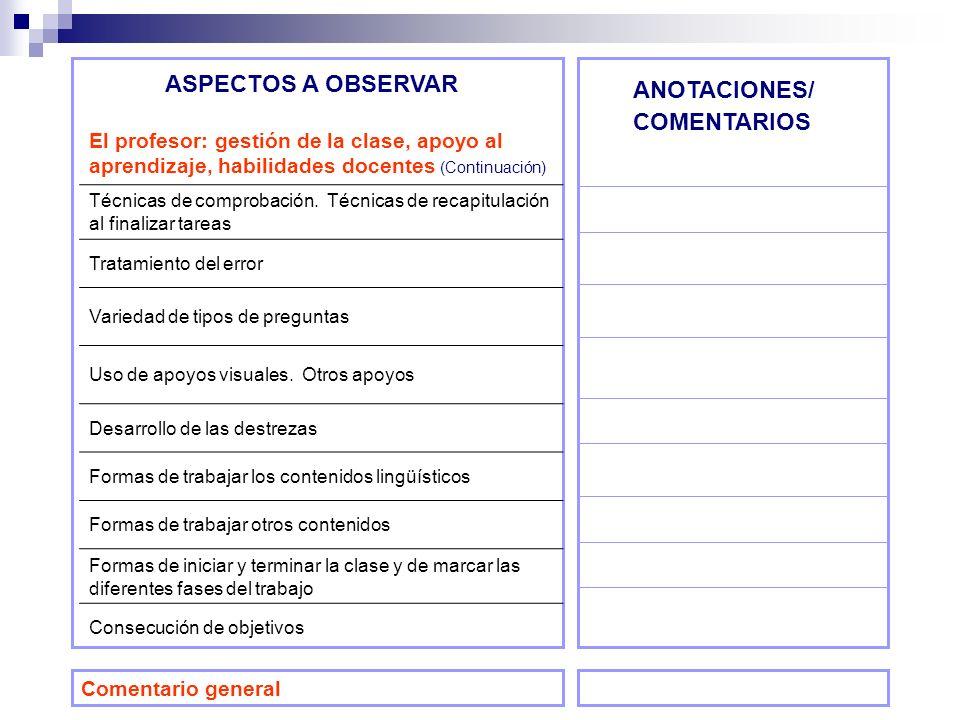 ASPECTOS A OBSERVAR ANOTACIONES/ COMENTARIOS El profesor: gestión de la clase, apoyo al aprendizaje, habilidades docentes (Continuación) Técnicas de c