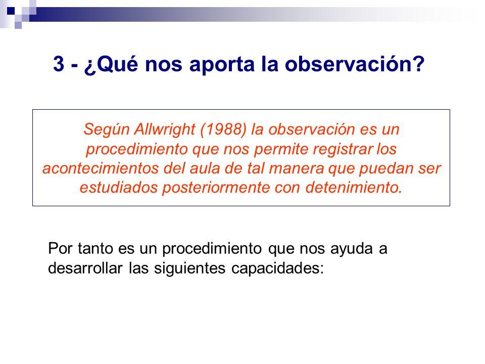 Según Allwright (1988) la observación es un procedimiento que nos permite registrar los acontecimientos del aula de tal manera que puedan ser estudiad