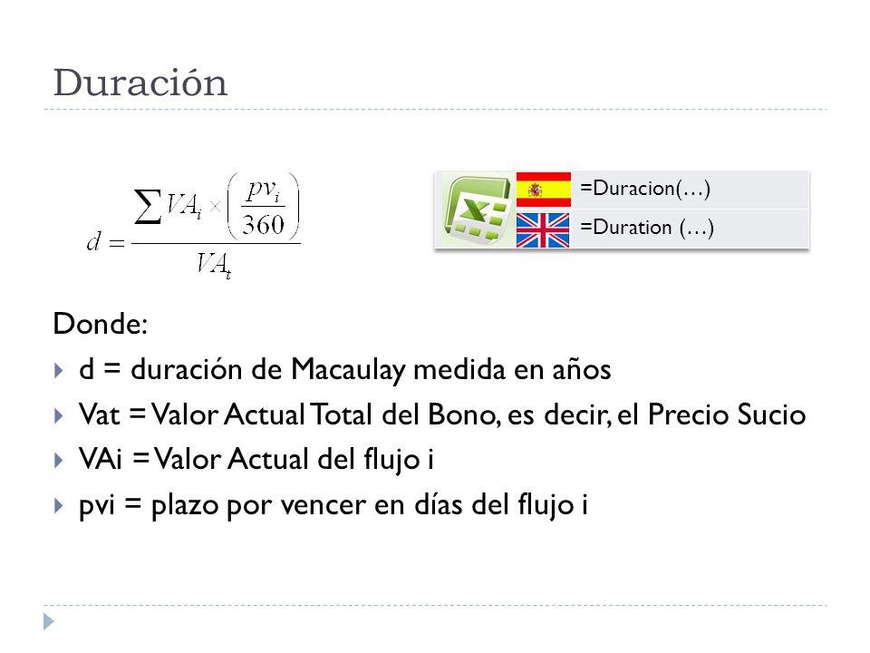 Duración Donde: d = duración de Macaulay medida en años Vat = Valor Actual Total del Bono, es decir, el Precio Sucio VAi = Valor Actual del flujo i pv