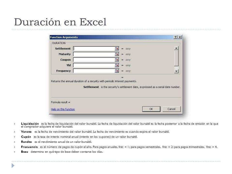 Duración en Excel Liquidación es la fecha de liquidación del valor bursátil. La fecha de liquidación del valor bursátil es la fecha posterior a la fec