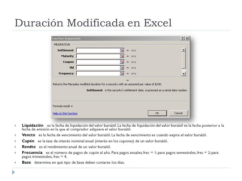 Duración Modificada en Excel Liquidación es la fecha de liquidación del valor bursátil. La fecha de liquidación del valor bursátil es la fecha posteri