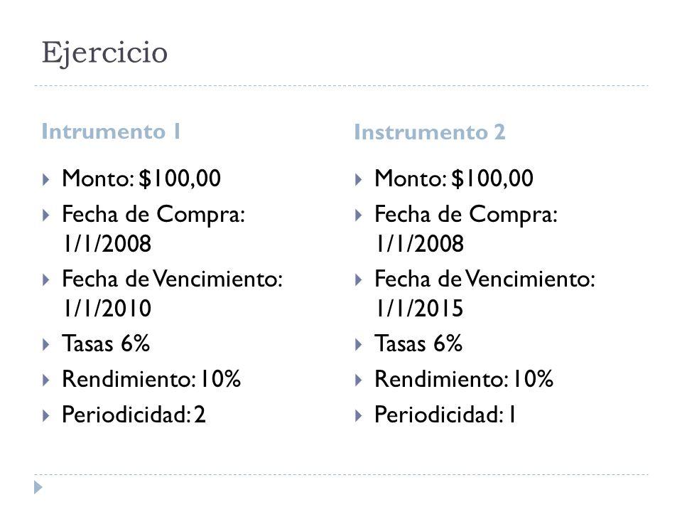 Ejercicio Intrumento 1 Instrumento 2 Monto: $100,00 Fecha de Compra: 1/1/2008 Fecha de Vencimiento: 1/1/2010 Tasas 6% Rendimiento: 10% Periodicidad: 2