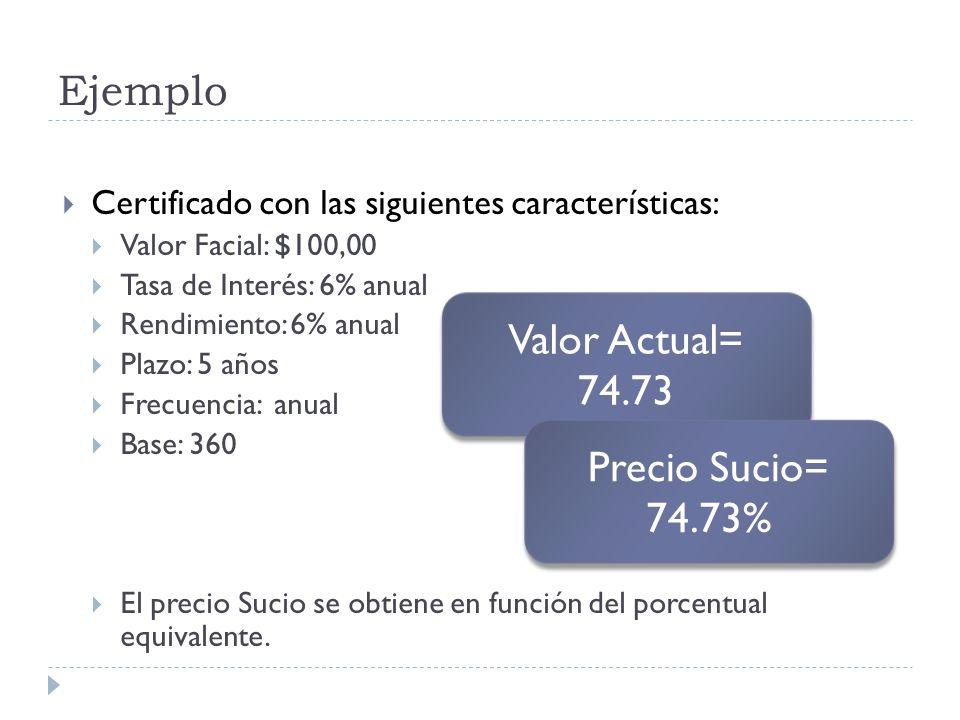 Ejemplo Certificado con las siguientes características: Valor Facial: $100,00 Tasa de Interés: 6% anual Rendimiento: 6% anual Plazo: 5 años Frecuencia